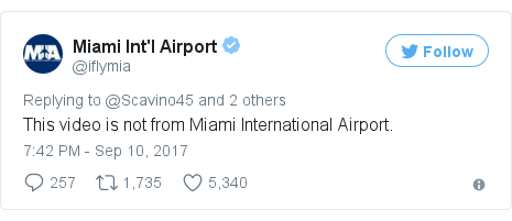 Twitter post by @iflymia: This video is not from Miami International Airport.