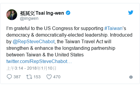 Twitter 用戶名 @iingwen: I'm grateful to the US Congress for supporting #Taiwan's democracy & democratically-elected leadership. Introduced by @RepSteveChabot, the Taiwan Travel Act will strengthen & enhance the longstanding partnership between Taiwan & the United States