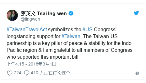 Twitter 用户名 @iingwen: #TaiwanTravelAct symbolizes the #US Congress' longstanding support for #Taiwan. The Taiwan-US partnership is a key pillar of peace & stability for the Indo-Pacific region & I am grateful to all members of Congress who supported this important bill