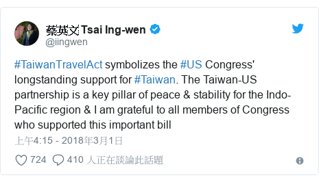 Twitter 用戶名 @iingwen: #TaiwanTravelAct symbolizes the #US Congress' longstanding support for #Taiwan. The Taiwan-US partnership is a key pillar of peace & stability for the Indo-Pacific region & I am grateful to all members of Congress who supported this important bill