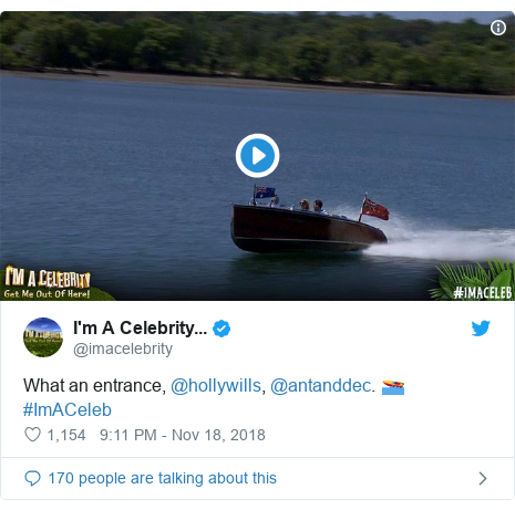 Twitter post by @imacelebrity: What an entrance, @hollywills, @antanddec. 🚤 #ImACeleb
