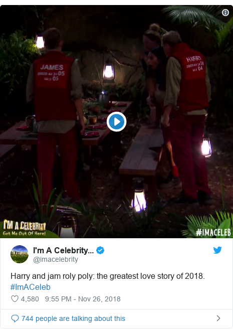 Twitter post by @imacelebrity: Harry and jam roly poly  the greatest love story of 2018. #ImACeleb