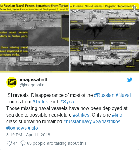 Twitter post by @imagesatint: ISI reveals  Disappearance of most of the #Russian #Naval Forces from #Tartus Port, #Syria.Those missing naval vessels have now been deployed at sea due to possible near-future #strikes. Only one #kilo class submarine remained.#russiannavy #Syriastrikes #foxnews #kilo