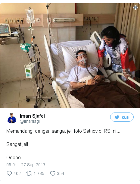 Twitter pesan oleh @imanlagi: Memandangi dengan sangat jeli foto Setnov di RS ini...Sangat jeli...Ooooo.... pic.twitter.com/xmzat5D3xd