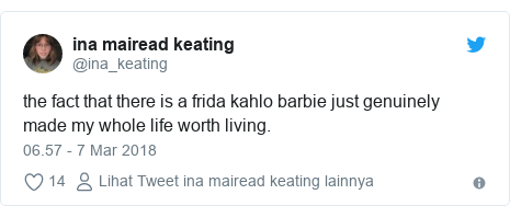 Twitter pesan oleh @ina_keating: the fact that there is a frida kahlo barbie just genuinely made my whole life worth living.