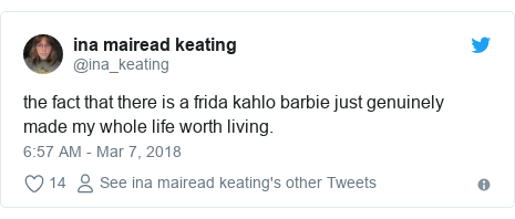 Twitter post by @ina_keating: the fact that there is a frida kahlo barbie just genuinely made my whole life worth living.