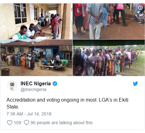 Twitter post by @inecnigeria: Accreditation and voting ongoing in most  LGA's in Ekiti State.