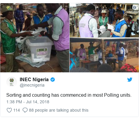 Twitter post by @inecnigeria: Sorting and counting has commenced in most Polling units.