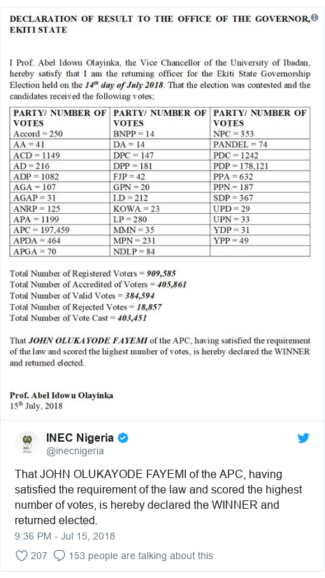 Twitter post by @inecnigeria: That JOHN OLUKAYODE FAYEMI of the APC, having satisfied the requirement of the law and scored the highest number of votes, is hereby declared the WINNER and returned elected.