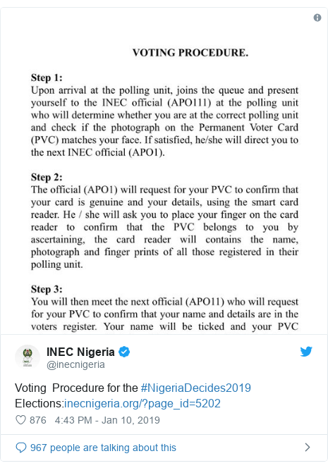 Twitter post by @inecnigeria: Voting  Procedure for the #NigeriaDecides2019 Elections