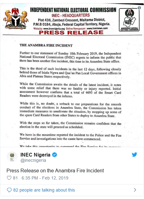 Twitter post by @inecnigeria: Press Release on the Anambra Fire Incident