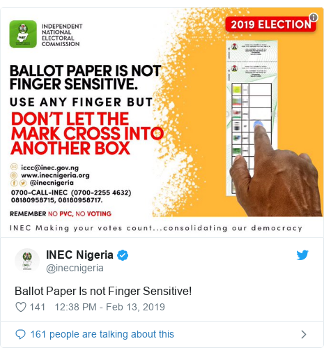 Twitter post by @inecnigeria: Ballot Paper Is not Finger Sensitive!