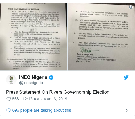 Twitter wallafa daga @inecnigeria: Press Statement On Rivers Governorship Election