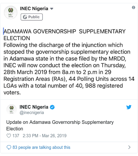 Twitter post by @inecnigeria: Update on Adamawa Governorship Supplementary Election