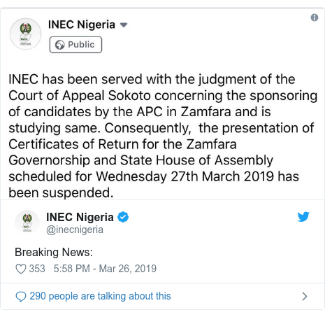 Twitter wallafa daga @inecnigeria: Breaking News