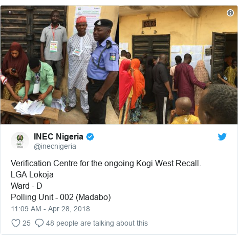 Twitter post by @inecnigeria: Verification Centre for the ongoing Kogi West Recall.LGA LokojaWard - DPolling Unit - 002 (Madabo)