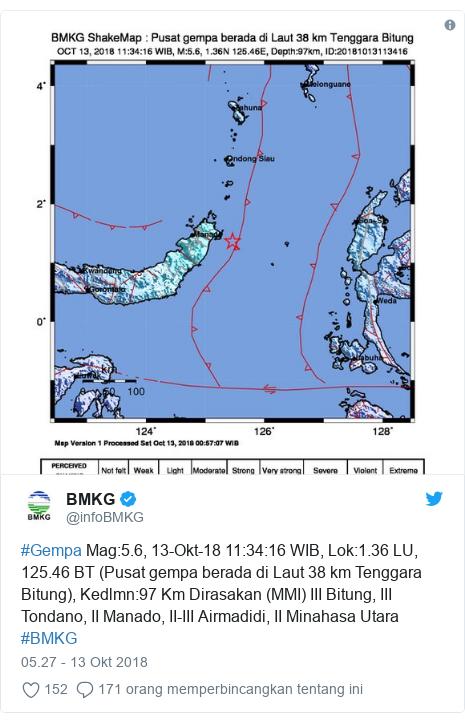 Twitter pesan oleh @infoBMKG: #Gempa Mag 5.6, 13-Okt-18 11 34 16 WIB, Lok 1.36 LU, 125.46 BT (Pusat gempa berada di Laut 38 km Tenggara Bitung), Kedlmn 97 Km Dirasakan (MMI) III Bitung, III Tondano, II Manado, II-III Airmadidi, II Minahasa Utara #BMKG