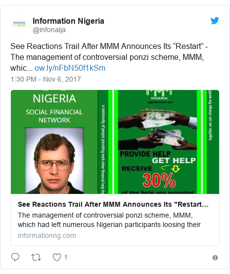 """Twitter post by @infonaija: See Reactions Trail After MMM Announces Its """"Restart"""" - The management of controversial ponzi scheme, MMM, whic..."""