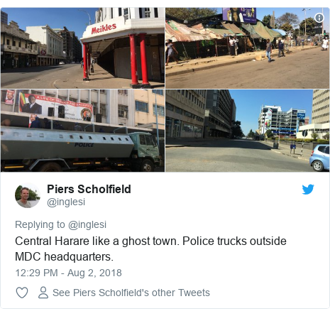 Twitter post by @inglesi: Central Harare like a ghost town. Police trucks outside MDC headquarters.