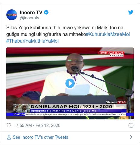 Ujumbe wa Twitter wa @inoorotv: Silas Yego kuhithuria thiri imwe yekirwo ni Mark Too na gutiga muingi uking'aurira na mitheko#KuhurukiaMzeeMoi #ThabariYaMuthiaYaMoi