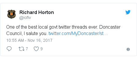 Twitter post by @iofiv: One of the best local govt twitter threads ever. Doncaster Council, I salute you.