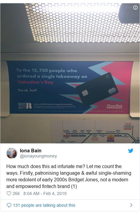Twitter post by @ionayoungmoney: How much does this ad infuriate me? Let me count the ways. Firstly, patronising language & awful single-shaming more redolent of early 2000s Bridget Jones, not a modern and empowered fintech brand (1)