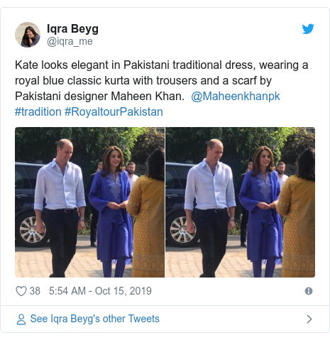 Twitter post by @iqra_me: Kate looks elegant in Pakistani traditional dress, wearing a royal blue classic kurta with trousers and a scarf by Pakistani designer Maheen Khan. @Maheenkhanpk #tradition #RoyaltourPakistan