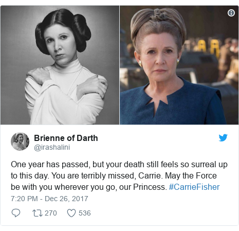 Twitter post by @irashalini: One year has passed, but your death still feels so surreal up to this day. You are terribly  missed, Carrie. May the Force be with you wherever you go, our Princess. #CarrieFisher