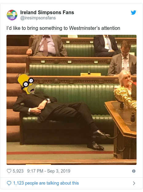 Twitter post by @iresimpsonsfans: I'd like to bring something to Westminster's attention