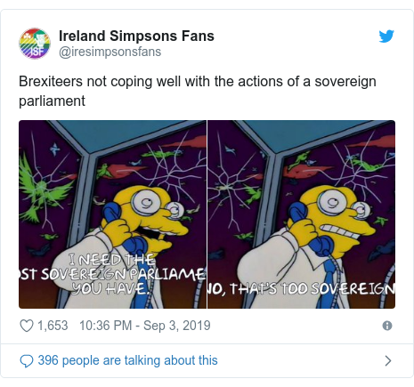 Twitter post by @iresimpsonsfans: Brexiteers not coping well with the actions of a sovereign parliament