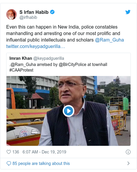 Twitter post by @irfhabib: Even this can happen in New India, police constables manhandling and arresting one of our most prolific and influential public intellectuals and scholars @Ram_Guha
