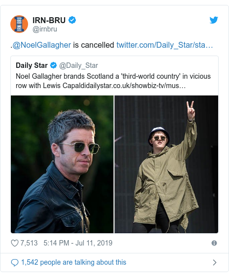 Twitter post by @irnbru: .@NoelGallagher is cancelled