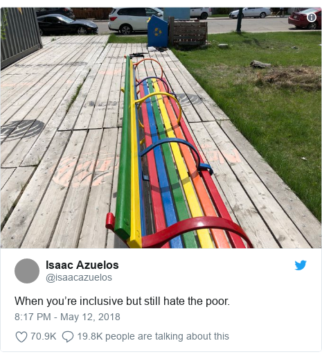 Twitter post by @isaacazuelos: When you're inclusive but still hate the poor.
