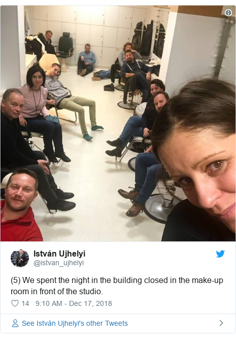 Twitter post by @istvan_ujhelyi: (5) We spent the night in the building closed in the make-up room in front of the studio.