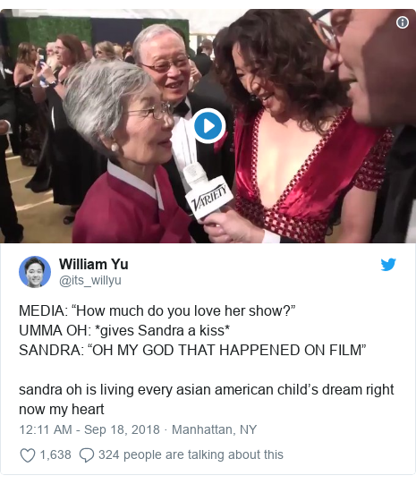 "Twitter post by @its_willyu: MEDIA  ""How much do you love her show?""UMMA OH  *gives Sandra a kiss*SANDRA  ""OH MY GOD THAT HAPPENED ON FILM""sandra oh is living every asian american child's dream right now my heart"