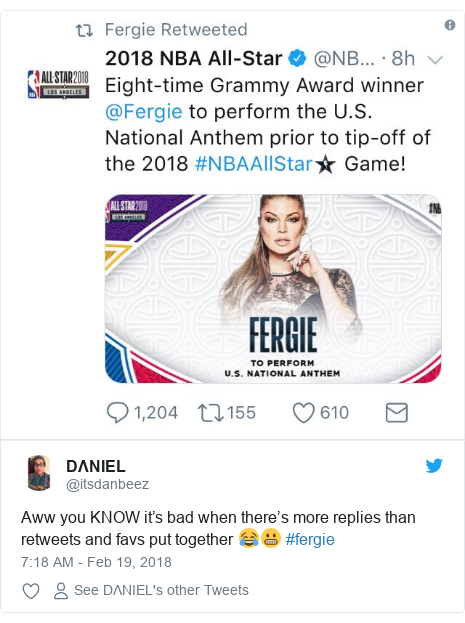 Twitter post by @itsdanbeez: Aww you KNOW it's bad when there's more replies than retweets and favs put together 😂😬 #fergie