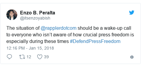 Twitter post by @itsenzoyabish: The situation of @rapplerdotcom should be a wake-up call to everyone who isn't aware of how crucial press freedom is especially during these times #DefendPressFreedom
