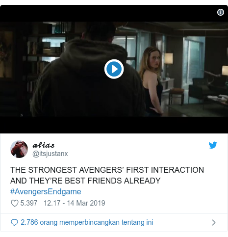Twitter pesan oleh @itsjustanx: THE STRONGEST AVENGERS' FIRST INTERACTION AND THEY'RE BEST FRIENDS ALREADY #AvengersEndgame