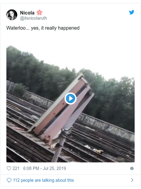 Twitter post by @itsnicolaruth: Waterloo... yes, it really happened