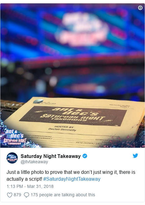 Twitter post by @itvtakeaway: Just a little photo to prove that we don't just wing it, there is actually a script! #SaturdayNightTakeaway