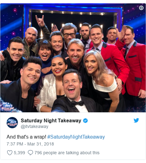 Twitter post by @itvtakeaway: And that's a wrap! #SaturdayNightTakeaway