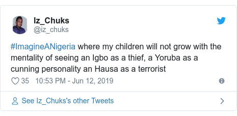 Twitter post by @iz_chuks: #ImagineANigeria where my children will not grow with the mentality of seeing an Igbo as a thief, a Yoruba as a cunning personality an Hausa as a terrorist