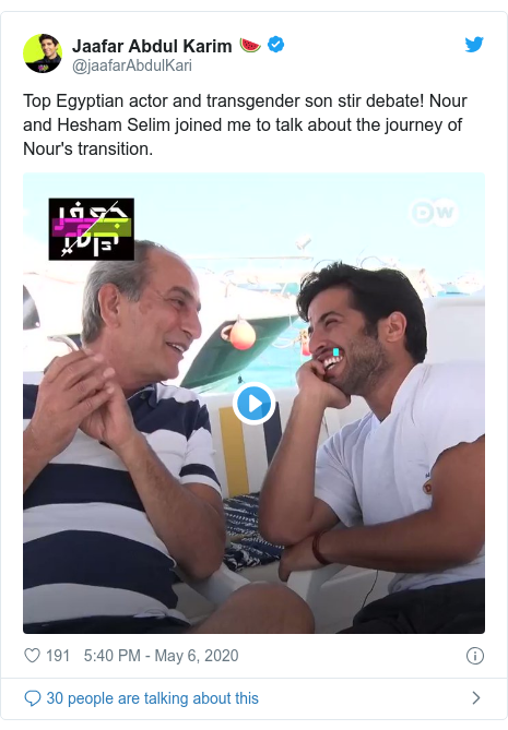 Twitter post by @jaafarAbdulKari: Top Egyptian actor and transgender son stir debate! Nour and Hesham Selim joined me to talk about the journey of Nour's transition.
