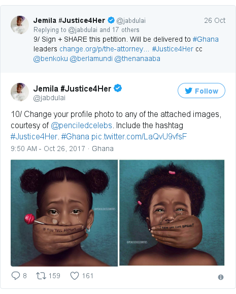 Ujumbe wa Twitter wa @jabdulai: 10/ Change your profile photo to any of the attached images, courtesy of @penciledcelebs. Include the hashtag #Justice4Her. #Ghana