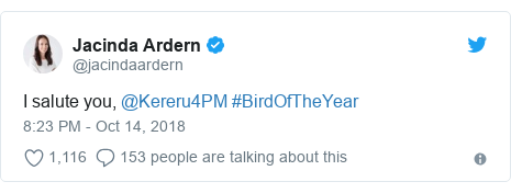 Twitter post by @jacindaardern: I salute you, @Kereru4PM #BirdOfTheYear