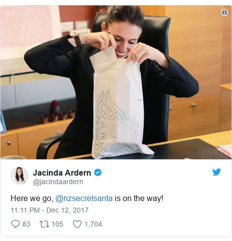 Twitter post by @jacindaardern: Here we go, @nzsecretsanta is on the way!
