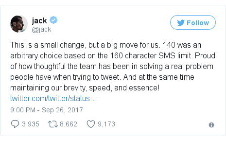Twitter post by @jack: This is a small change, but a big move for us. 140 was an arbitrary choice based on the 160 character SMS limit. Proud of how thoughtful the team has been in solving a real problem people have when trying to tweet. And at the same time maintaining our brevity, speed, and essence! https //t.co/TuHj51MsTu