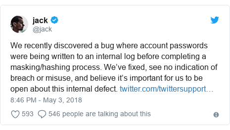 Twitter post by @jack: We recently discovered a bug where account passwords were being written to an internal log before completing a masking/hashing process. We've fixed, see no indication of breach or misuse, and believe it's important for us to be open about this internal defect.