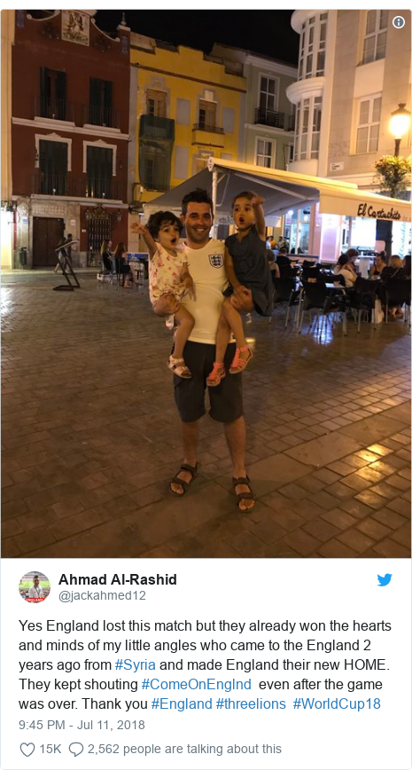Twitter post by @jackahmed12: Yes England lost this match but they already won the hearts and minds of my little angles who came to the England 2 years ago from #Syria and made England their new HOME. They kept shouting #ComeOnEnglnd  even after the game was over. Thank you #England #threelions  #WorldCup18