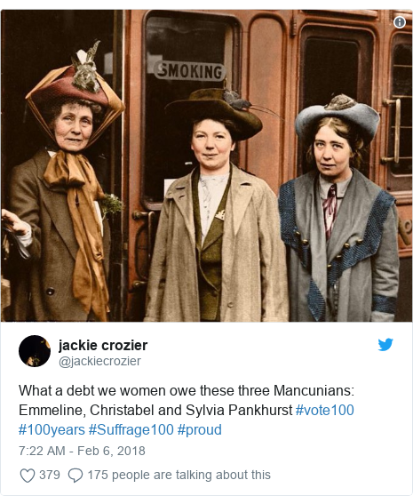 Twitter post by @jackiecrozier: What a debt we women owe these three Mancunians  Emmeline, Christabel and Sylvia Pankhurst #vote100 #100years #Suffrage100 #proud